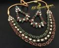 BEAUTIFUL DESIGN GOLDEN ANTIQUE BASED KUNDAN STONES 3 LAYERS NECKLACE SET