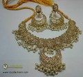 TRADITIONAL LOOK POLKIE STONES GOLDEN BASED HANGING WITH HANGING PEARL NECKLACE SET