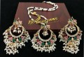 GOLDEN BASED HYDERABADI DESIGN ZIRCON & SEMI PRECIOUS STONES PENDANT SET