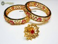 STYLISH GOLDEN BASED HYDERABADI BANGLE PAIR WITH MATCHING RING