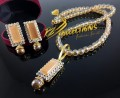 GOLD RHODIUM PLATED SEMI PRECIOUS STONES MATCHING MALA PENDANT SET