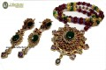 DECENT LOOK GOLDEN BASED WITH SEMI PRECIOUS STONES FURSHI KUNDAN PENDANT SET