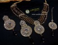 STYLISH TRADITIONAL LOOK GOLDEN BASED WITH POLKIE STONES NECKLACE SET
