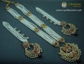 GOLDEN BASED HYDERABADI LONG MALA WITH ATTACHED 4 LAYERS SAHARA NECKLACE SET