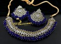 GOLDEN ANTIQUE BASED GAJRA BEATS NECKLACE SET