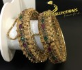 BEAUTIFUL DESIGN GOLD PLATED POLKIE & SEMI PRECIOUS STONES PAIR BANGLE