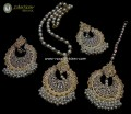 TRADITIONAL LOOK POLKIE STONES GOLDEN BASED PENDANT SET