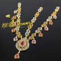 GOLD RHODIUM PLATED ZIRCON STONES MATHA PATTI