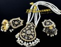 Golden Based Kundan And Meena Work  PENDANT with JHUMKA & MALA
