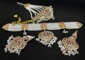 HYDERABADI DESIGN GOLDEN BASED PEARL GULUBAND NECKLACE SET