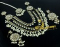GOLDEN ANTIQUE BASED KUNDAN STONES 3 LAYERS NECKLACE SET