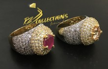 GOLD PLATED ZIRCON WITH SEMI PRECIOUS STONES INDIAN RING