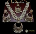 GOLDEN BASED POLKIE STONES 4 LAYERS PEARL NECKLACE SET