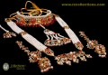 STYLISH GOLDEN BASED WITH PEARL BEATS HYDERABADI COMPLETE BRIDAL SET 1670