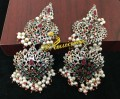 SILLVER BASED HYDERABADI DESIGN NAURATAN 2 STEPS EARRING