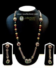 DECENT LOOK GOLD PLATED LONG MALA SEMI PRECIOUS STONES WITH MATCHING EARRING