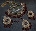 TRADITIONAL LOOK POLKIE STONES GOLDEN BASED GAJRA BEATS NECKLACE SET