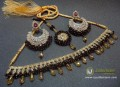 TRADITIONAL LOOK POLKIE STONES GOLDEN BASED GULUBAND STYLE NECKLACE SET