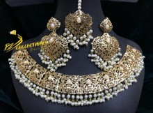 HYDERABADI DESIGN SEMI PRECIOUS STONES NECKLACE SET