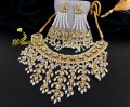 BEAUTIFUL HYDERABADI DESIGN GOLDEN BASED NECKLACE SET