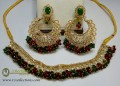 TRADITIONAL LOOK GOLDEN BASED ALONG WITH GAJRA BEATS NECKLACE SET