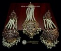 GOLDEN BASED HYDERABADI LONG EARRING WITH MATCHING JHOOMER