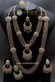 TRADITIONAL LOOK POLKIE STONES GOLDEN BASED 5 LAYERS LONG BUNCH MALA & NECKLACE COMPLETE BRIDAL SET