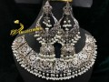 HYDERABADI DESIGN SILVER BASED LONG JHUMKI BECKLACE SET