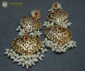 GOLDEN BASED HYDERABADI DESIGN WITH HANGING PEARL BEATS LONG EARRING