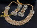 TRADITIONAL LOOK POLKIE & CHAMPAGNE ZIRCON STONES NECKLACE SET