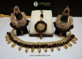 STYLISH TRADITIONAL WITH POLKIE STONES ALONG WITH GAJRA BEATS NECKLACE SET WITH MATCHING TEEKA