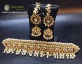 GOLDEN BASED HYDRABADI DESIGN GULUBAND NECKLACE SET