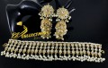 Light Weight Necklace Set With Kundan Stones And 3 Steps Long Jhumkis