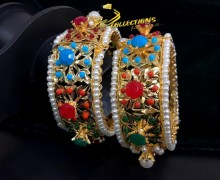 HYDERABADI DESIGN GOLDEN BASED NAURATAN BANGLE