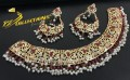GOLDEN BASED HYDERABADI DESIGN WITH SEMI PRECIOUS STONES NECKLACE SET