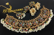 NEW DESIGN TRADITIONAL LOOK NAURATAN NECKLACE SET