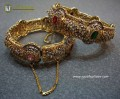 GOLD PLATED ZIRCON POLKIE & SEMI PRECIOUS STONES THICK SIZE PAIR BANGLE