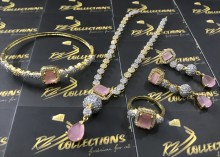 Gold Plated Indian NECKLACE SET with Zircon Stones