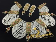 HYDERABADI DESIGN LONG PEARL LAYERS NECKLACE SET