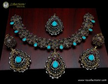STYLISH GOLD PLATED ALONG WITH SEMI STONES DECENT LOOK NECKLACE SET
