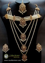 TRADITIONAL LOOK POLKIE STONES GOLDEN BASED 3 LAYERS MALA WITH GULUBAND BRIDAL SET