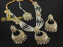 GOLDEN BASED POLKIE STONES PEARL NECKLACE SET