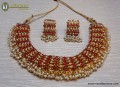 STYLISH GOLDEN BASED ALONG WITH PEARL BEATS INDIAN NECKLACE SET