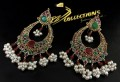TRADITIONAL LOOK GOLDEN BASED WITH SEMI PRECIOUS STONES EARRING