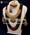 TRADITIONAL WITH GOLDEN BASED COMPLETE BRIDAL SET WITH ATTACHED MALA