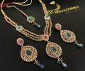 TRADITIONAL LOOK POLKIE STONES GOLDEN BASED NECKLACE SET