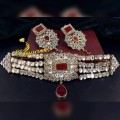 GOLDEN BASED WITH SEMI PRECIOUS STONES KUNDAN SET