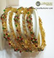 DECENT LOOK GOLD PLATED WITH SEMI PRECIOUS STONES BANGLES