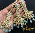 Beautiful Golden Based EARRING and TEEKA Combo with Semi Precious Beads and Polkie Stones