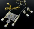 GOLD PLATED ZIRCON SEMI PRECIOUS STONES BIG SIZE PENDANT SET